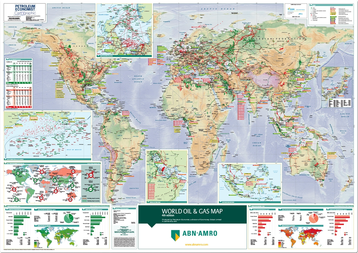 World Map Store.World Oil And Gas Map Petroleum Economist Store